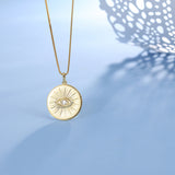 Evil Eye Necklace Yellow Gold Tone Pendant S925 Sterling Silver Choker Adjustable Chain