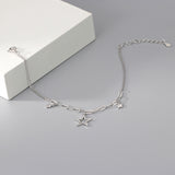 Adjustable S925 Sterling Silver Star Charm Bracelet Friendship Gift