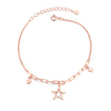 rose gold plated S925 silver star charm bracelet