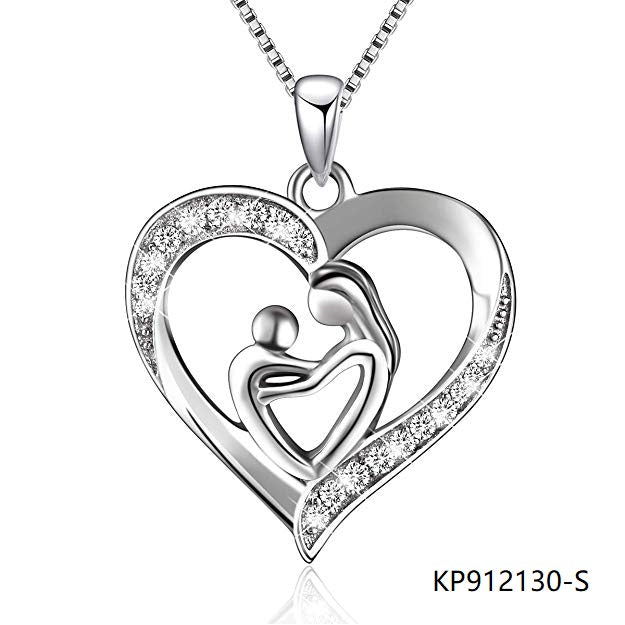 Silver Necklace Cubic Zirconia love heart mother and child pendant