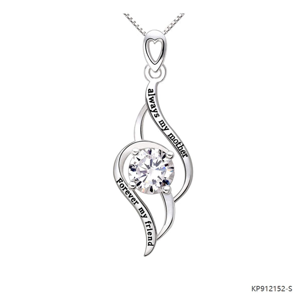 Always My Mother Forever My Friend Sterling Silver CZ Love Heart Necklace Pendant