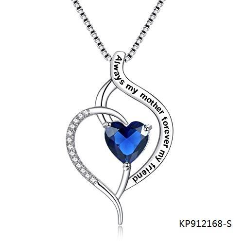 Always My Mother Forever My Friend CZ Sterling Silver Love Heart Necklace Pendant