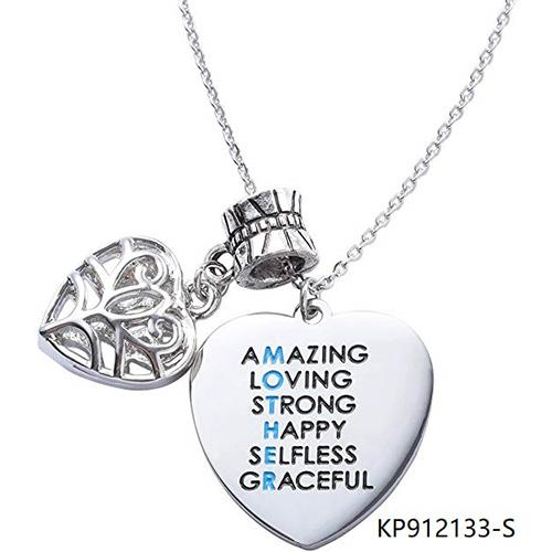 Amazing Mom Sterling Silver Necklace Heart Charm Pendant