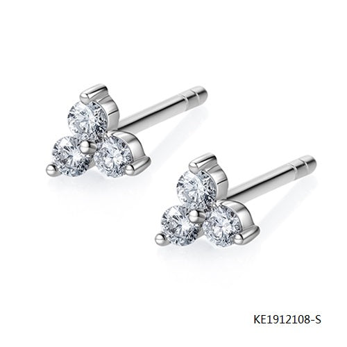 Bougainvillea Sterling Silver Earring Studs with Clear AAA CZ Stones