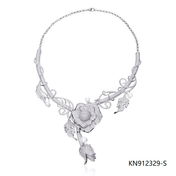 CZ 925 Sterling Silver Floral Necklace for Wedding