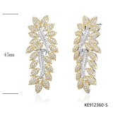 CZ Gold-tone Sterling Silver Bridal Earrings for Wedding
