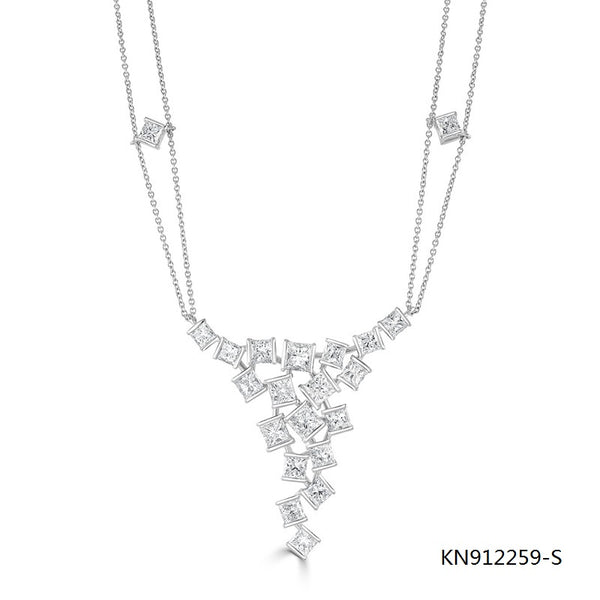 CZ Hopscotch Statement Necklace in Sterling Silver