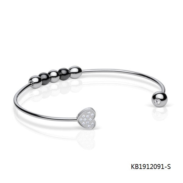 Polished Sterling Silver Cubic Zirconia Bangle with Onxy Beads