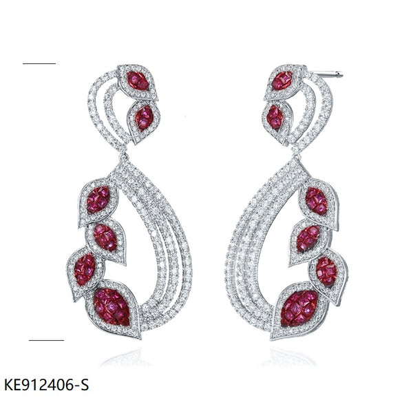 Ruby CZ Sterling Silver Earrings for Wedding