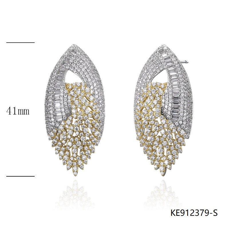 CZ Sterling Silver Bridal Earrings for Wedding