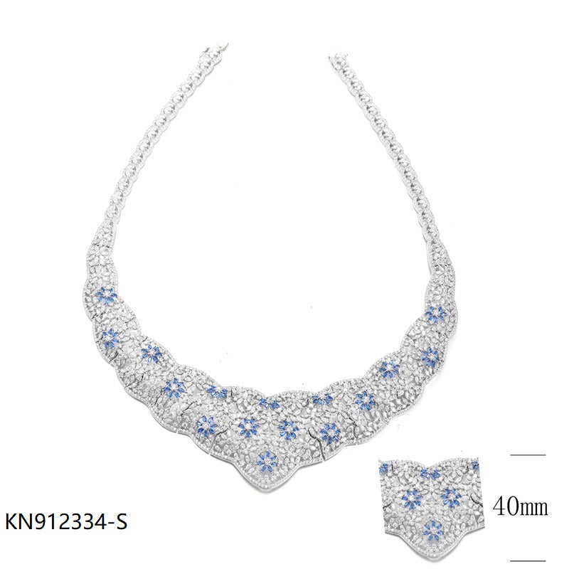 Sapphire CZ Sterling Silver Bridal Necklace for Wedding