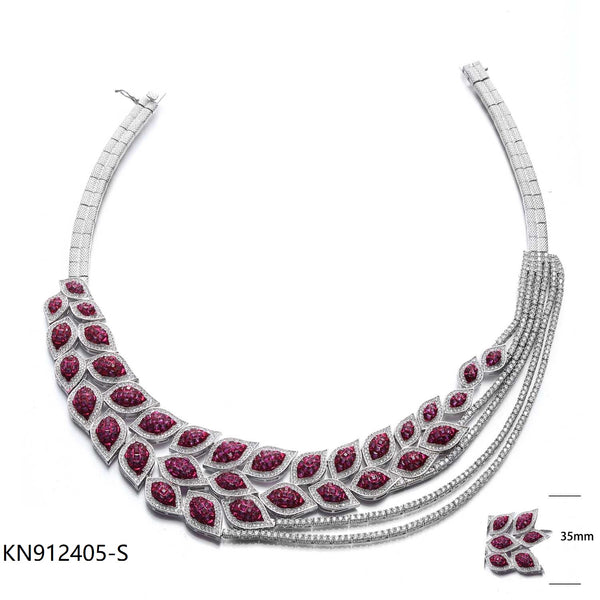 Ruby CZ Sterling Silver Necklace for Wedding