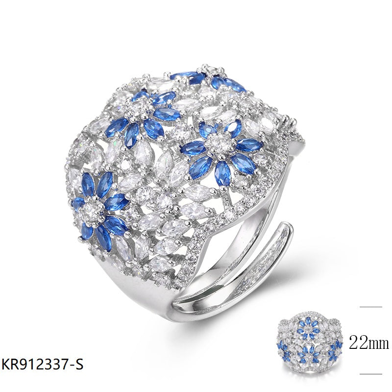 Sapphire CZ Vintage Sterling Silver Bridal Ring for Wedding