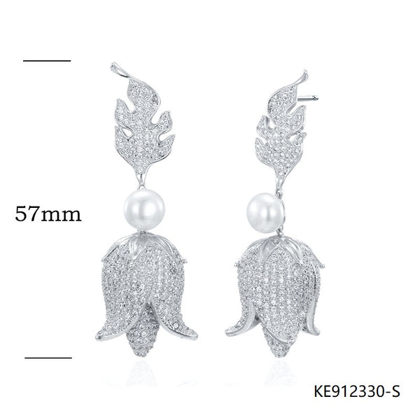 CZ Pearl Sterling Silver Floral Bridal Earrings for Wedding