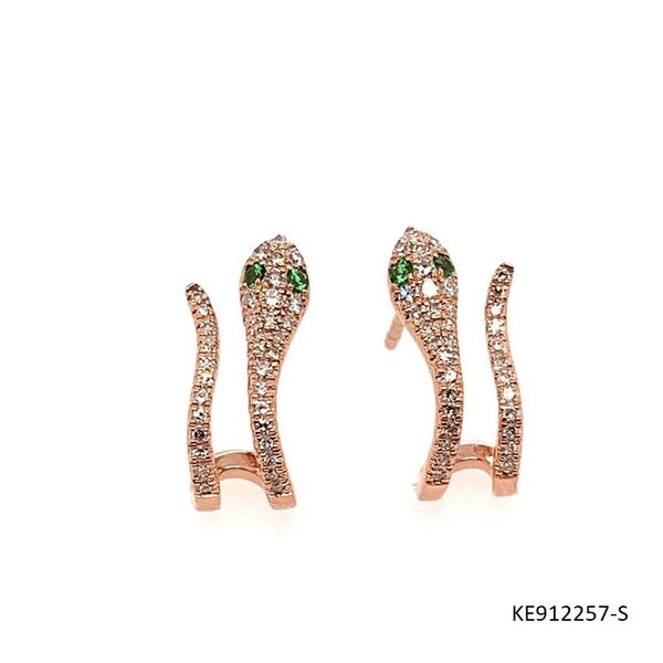 CZ and Emerald Snake Earrings in Rose Gold Plated Sterling Silver