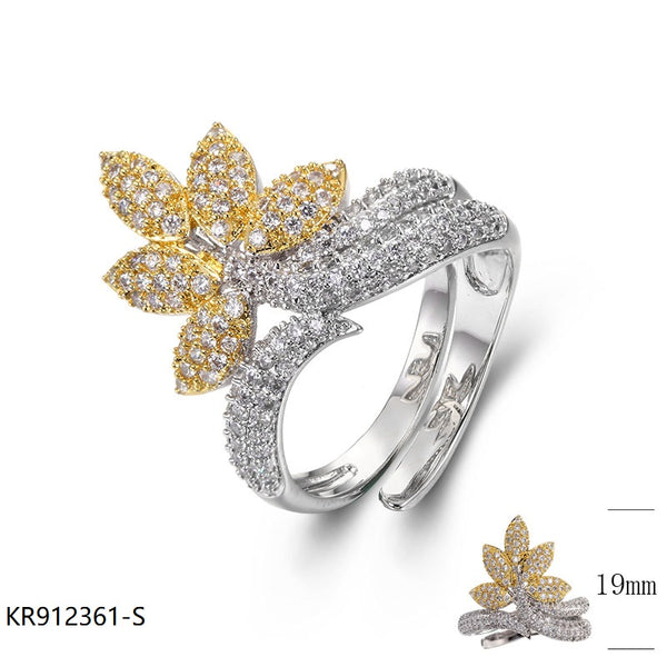 CZ Vintage gold-tone Sterling Silver Bridal Ring for Wedding