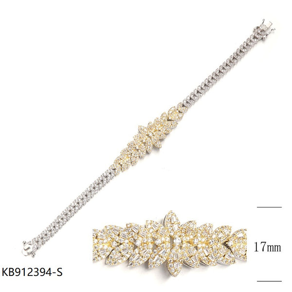 CZ Sterling Silver Floral Bracelet for Wedding