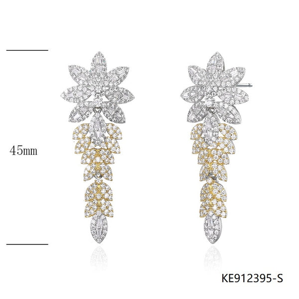 CZ Sterling Silver Floral Earrings for Wedding