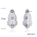 Sapphire CZ Sterling Silver Bridal Earrings for Wedding