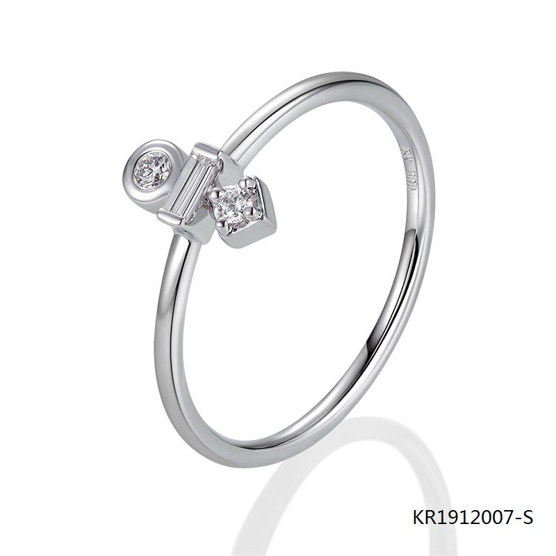 Clear Center Baguette Cubic Zirconia Stone Sterling Silver Ring