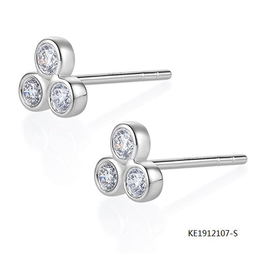 Clover Sterling Silver Earring Studs with Clear AAA CZ Stones