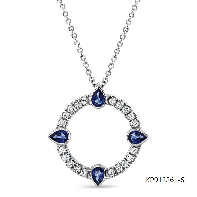 Compass CZ and Sapphire Pendant in Sterling Silver