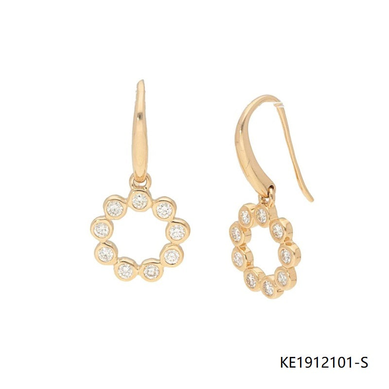 14K Gold-tone Round Bezel Sterling Silver CZ Drop Earrings