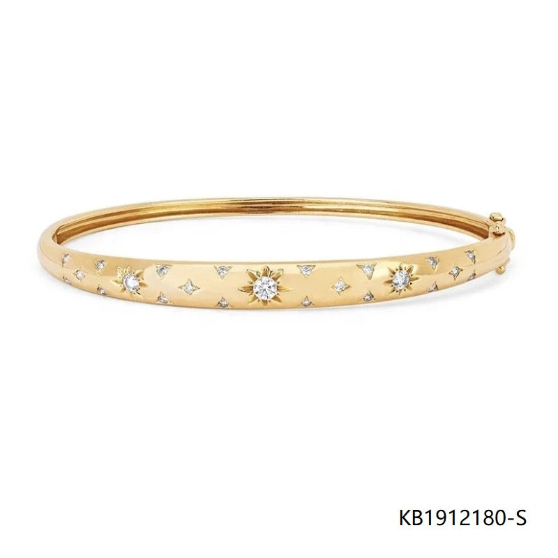 Gold Plated Sterling Silver Starry Night Bangle Bracelet with CZ
