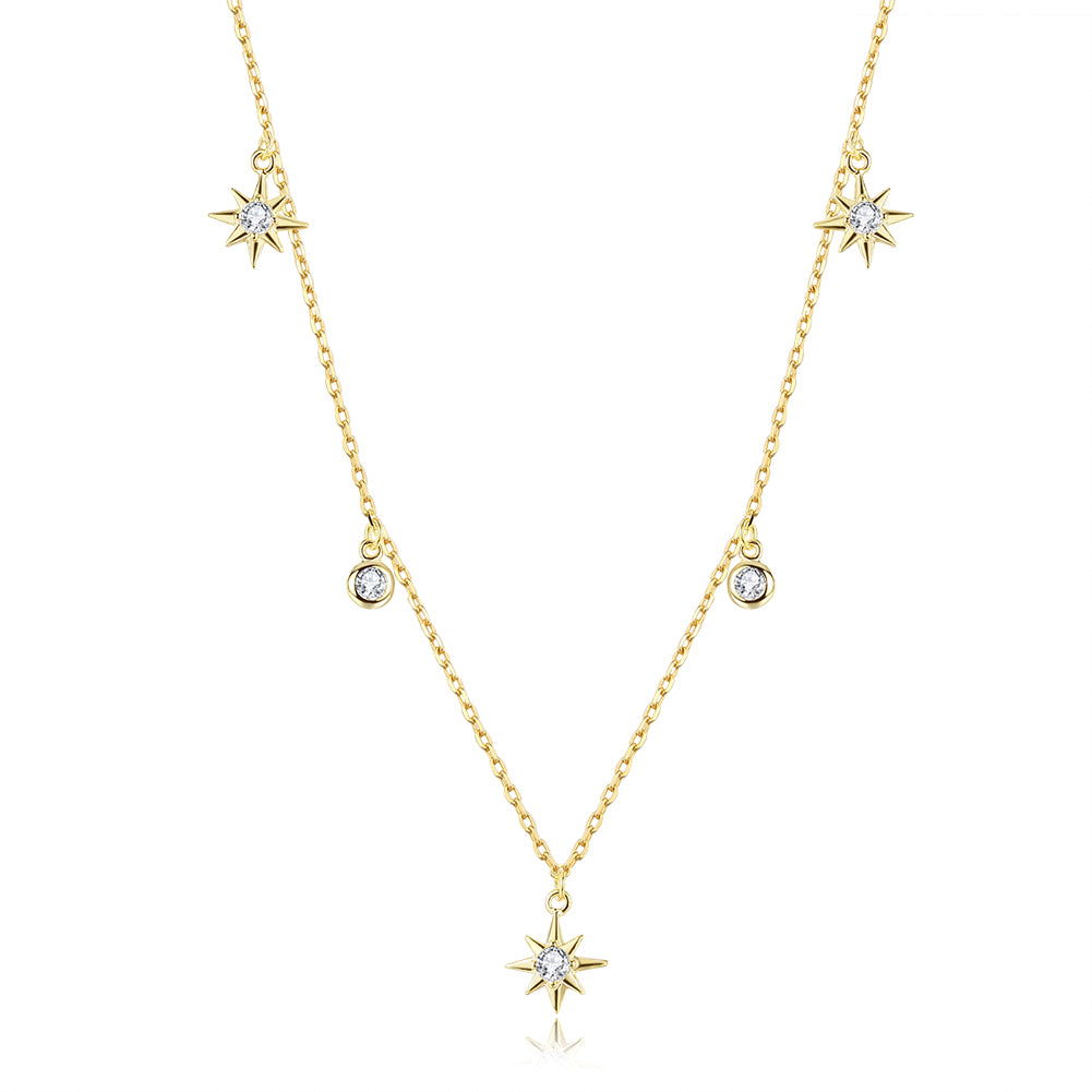 gold plated star pendant choker necklace