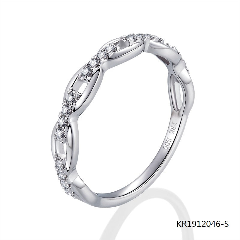 KadArt Hollow Sterling Silver Engagement Ring with Clear Cubic Zirconia Stones