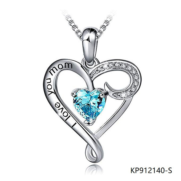 I Love You Mom Sterling Silver Necklace With CZ In heart pendant
