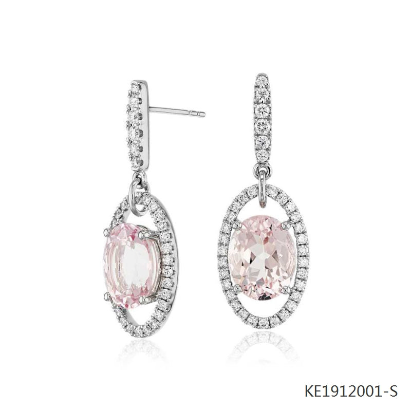 Oval Morganite Cubic Zirconia Drop Earrings in Sterling Silver
