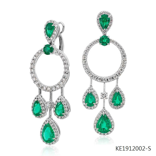 Pear Shape Emerald, Cubic Zirconia Earrings in Sterling Silver