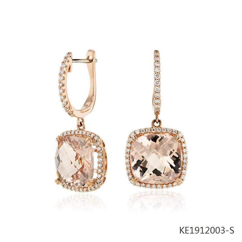 Square Morganite Cubic Zirconia Earrings in Sterling Silver 18K Rose Gold Plated