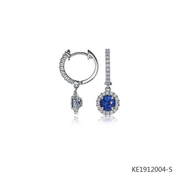 Sapphire and Cubic Zirconia Micropavé Drop Earrings  in Sterling Silver