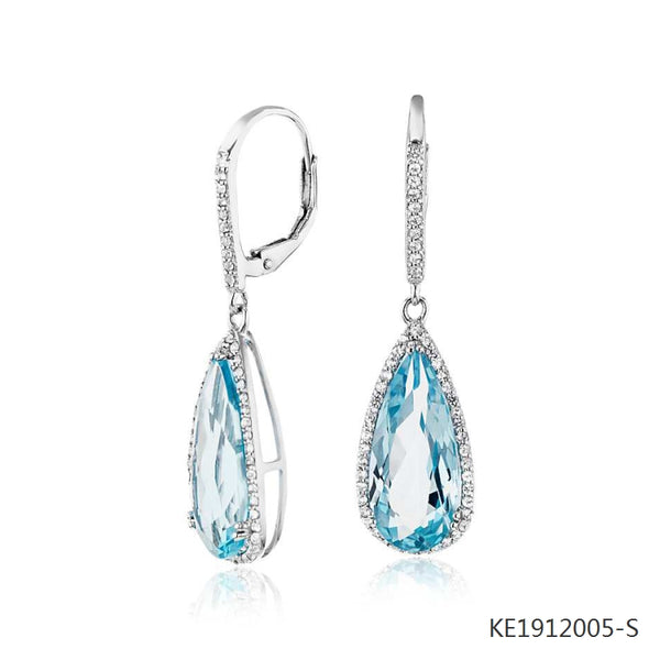 Pear Shape Blue Topaz, Cubic Zirconia  Drop Earrings in Sterling Silver