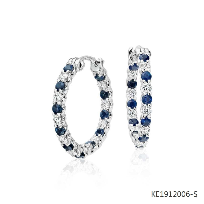 Luna Sapphire and Cubic Zirconia Hoops in Sterling Silver