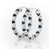 Luna Sapphire and Cubic Zirconia Hoops in Sterling Silver rear view
