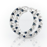 Luna Sapphire and Cubic Zirconia Hoops in Sterling Silver front view