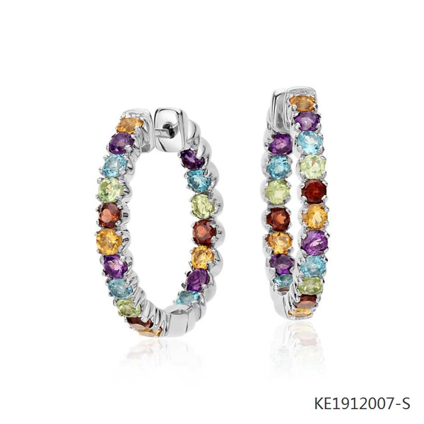 Multicolored Gemstone Hoop Earrings in Sterling Silver