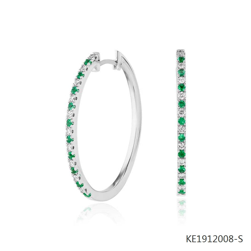 Emerald and Cubic Zirconia Oval Hoop Earrings in Sterling Silver