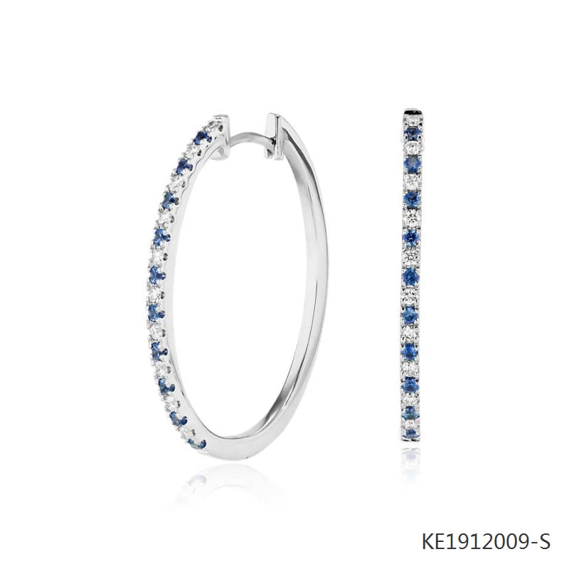 Sapphire and Cubic Zirconia Oval Hoop Earrings  in Sterling Silver