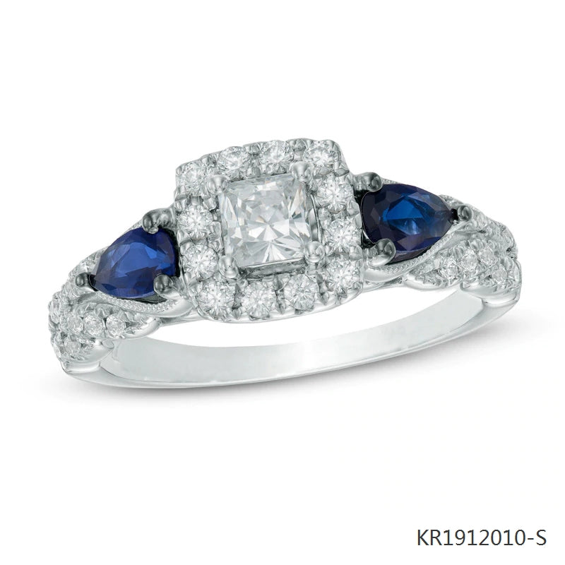 Cubic Zirconia and Pear Shape Blue Sapphire Engagement Ring in Sterling Silver