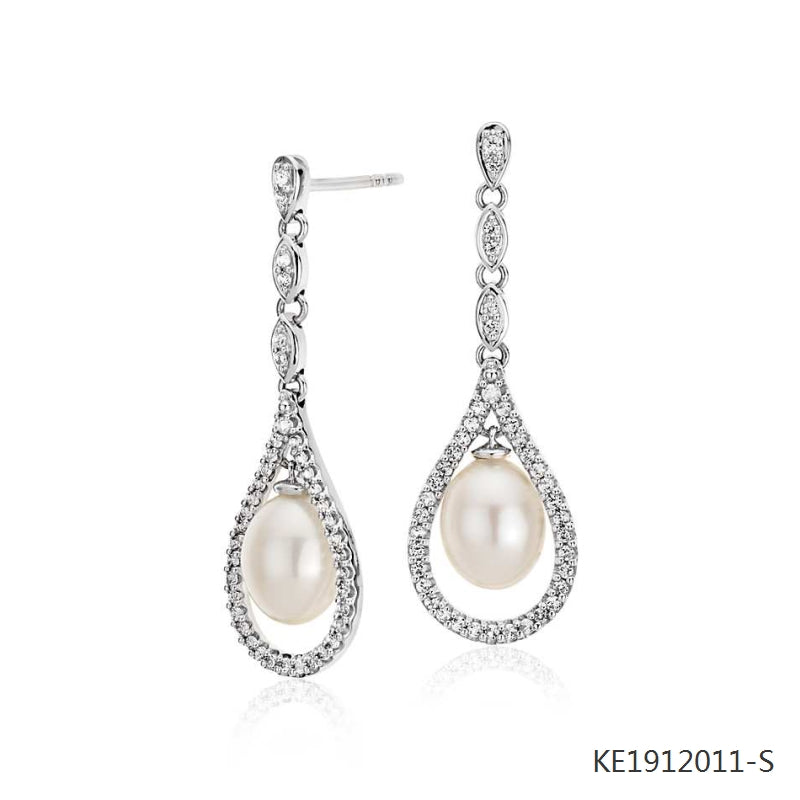 Vintage Inspired Freshwater Cultured Pearl and CZ Drop Earrings in Sterling Silver