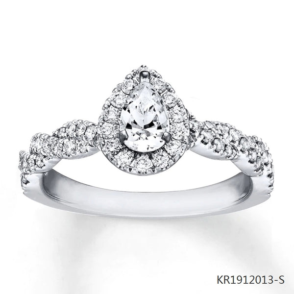 Cubic Zirconia Pear Stone Engagement Ring in Sterling Silver