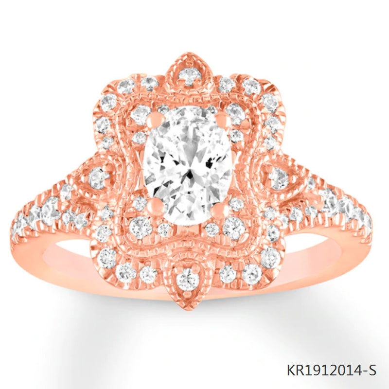Oval/Round Cubic Zirconia Engagement Ring in 18K Rose Gold Plated Sterling Silver