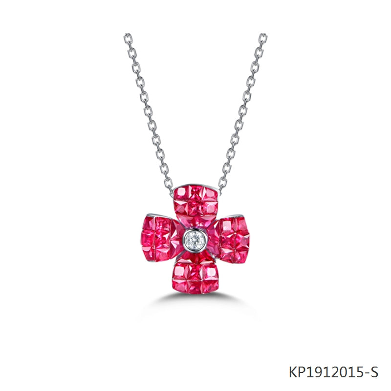 Ruby and Cubic Zirconia Flower Pendant in Sterling Silver
