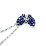 Sapphire and CZ Butterfly Pendant in Sterling Silver