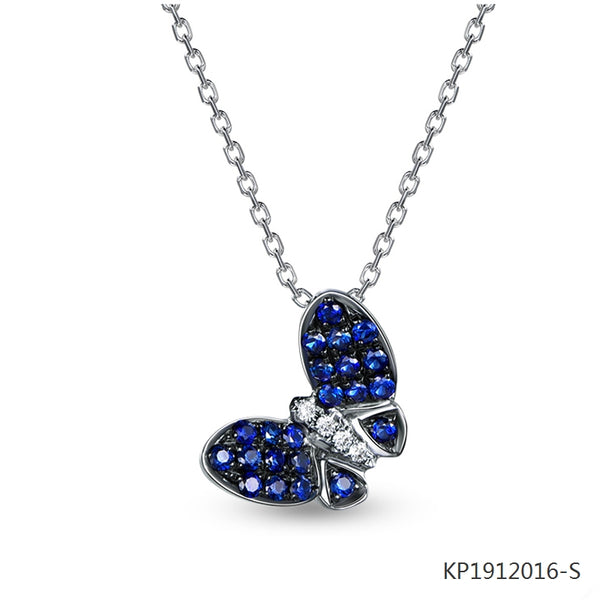 Sapphire and Cubic Zirconia Butterfly Pendant in Sterling Silver
