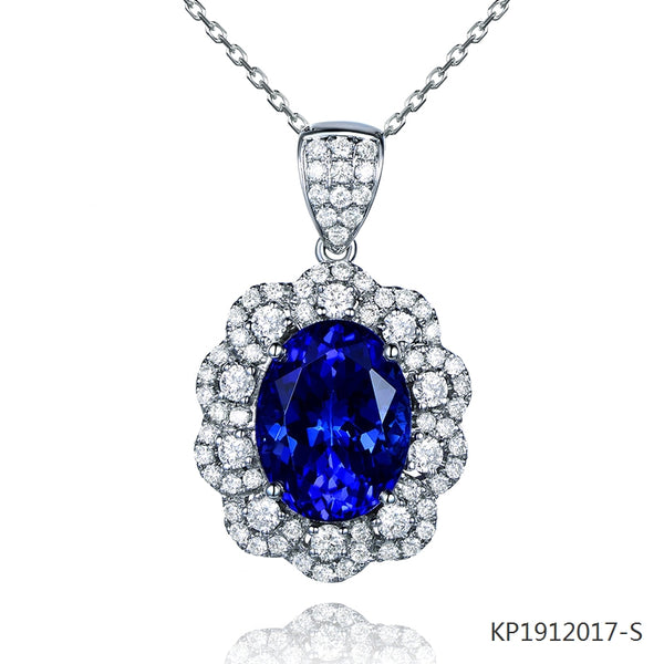 Sapphire and Cubic Zirconia Pendant in Sterling Silver